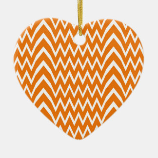 Ornement Cœur En Céramique Illusion orange de Chevron