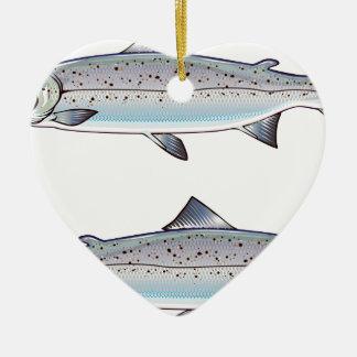 Ornement Cœur En Céramique Illustration de poissons d'océan de saumon