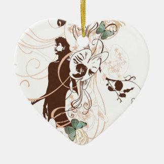 Ornement Cœur En Céramique Illustration d'une femme et des papillons