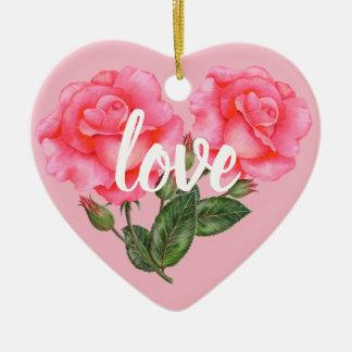 Ornement Cœur En Céramique Illustration florale botanique de rose de rose