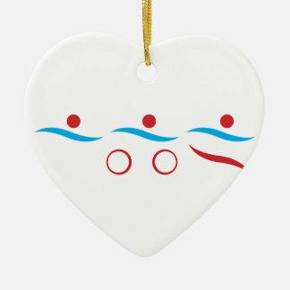 Ornement Cœur En Céramique Illustration fraîche de logo de triathlon