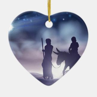 Ornement Cœur En Céramique Illustration Mary et Joseph de Noël de nativité