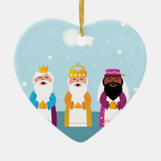 Ornement Cœur En Céramique Illustrations originales de trois rois