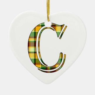Ornement Cœur En Céramique Initiale de plaid de C
