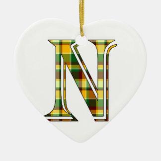 Ornement Cœur En Céramique Initiale de plaid de N
