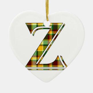 Ornement Cœur En Céramique Initiale de plaid de Z