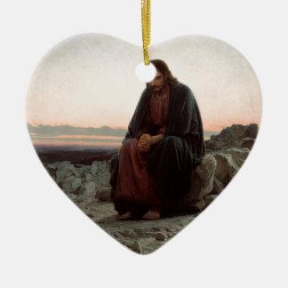 Ornement Cœur En Céramique Ivan Kramskoy- le Christ dans la région sauvage -