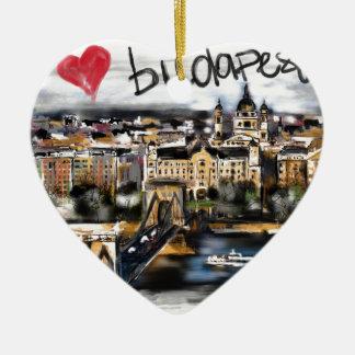 Ornement Cœur En Céramique J'aime Budapest