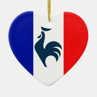 Ornement Cœur En Céramique J'aime coq drapeau France