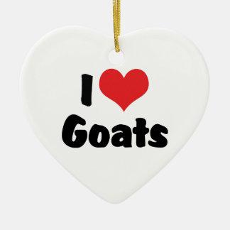 Ornement Cœur En Céramique J'aime des chèvres de coeur - amant de chèvre