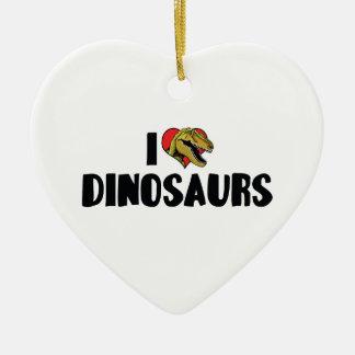 Ornement Cœur En Céramique J'aime des dinosaures de coeur - chasseur de