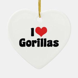 Ornement Cœur En Céramique J'aime des gorilles de coeur - amant de gorille
