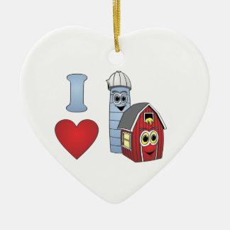 Ornement Cœur En Céramique J'aime des granges