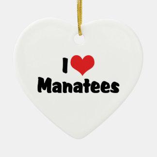 Ornement Cœur En Céramique J'aime des lamantins de coeur