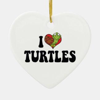 Ornement Cœur En Céramique J'aime des tortues de coeur
