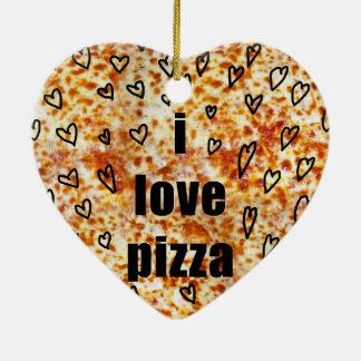Ornement Cœur En Céramique J'aime la pizza/pizza m'aime
