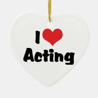 Ornement Cœur En Céramique J'aime le coeur agissant - théâtre d'arts du