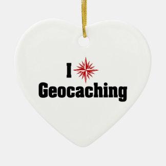 Ornement Cœur En Céramique J'aime le coeur Geocaching - chasseur de trésor