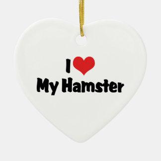 Ornement Cœur En Céramique J'aime le coeur mon hamster