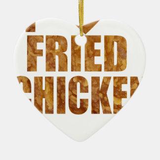 Ornement Cœur En Céramique J'aime le poulet frit