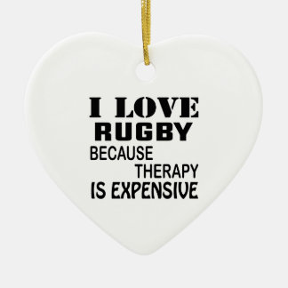 Ornement Cœur En Céramique J'aime le rugby puisque la thérapie est chère