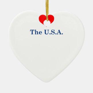 Ornement Cœur En Céramique J'aime les Etats-Unis