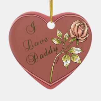 Ornement Cœur En Céramique J'aime l'ornement en céramique de coeur de papa