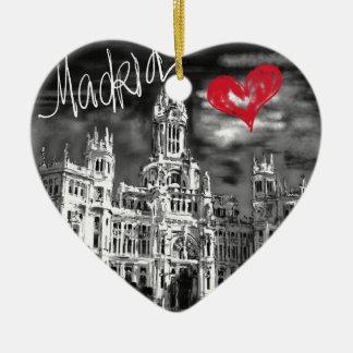 Ornement Cœur En Céramique J'aime Madrid