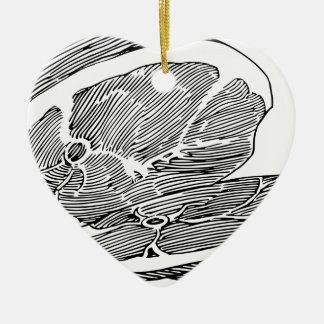 Ornement Cœur En Céramique Jambon