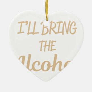 Ornement Cœur En Céramique J'apporterai l'alcool