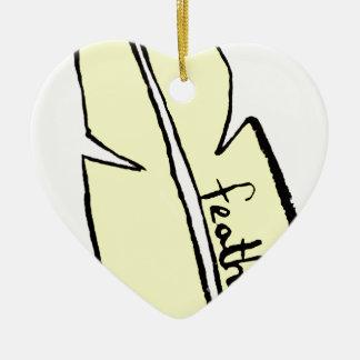 Ornement Cœur En Céramique jaune de plume