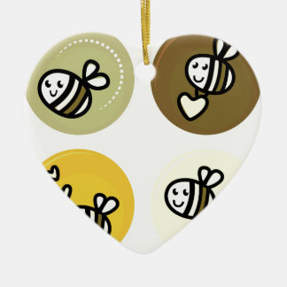 Ornement Cœur En Céramique Jaune merveilleux d'abeilles de vol
