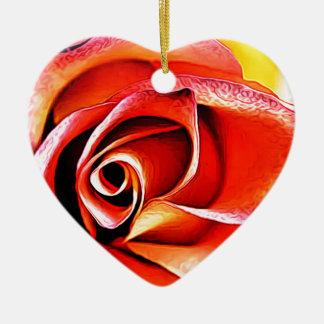 Ornement Cœur En Céramique Jaune orange de fleur de fleur florale de pétales