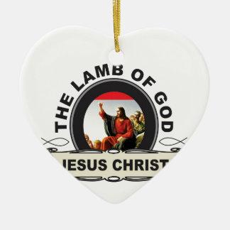 Ornement Cœur En Céramique jc l'agneau d'un dieu