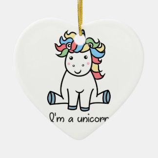 Ornement Cœur En Céramique Je suis une licorne !