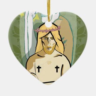 Ornement Cœur En Céramique JeSus FiGhT