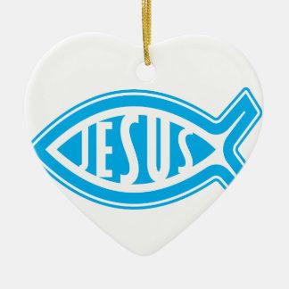 Ornement Cœur En Céramique Jésus-Poisson