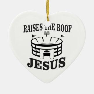 Ornement Cœur En Céramique Jésus soulève le toit ouais