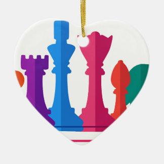Ornement Cœur En Céramique Jeu d'échecs