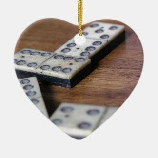 Ornement Cœur En Céramique Jeu vintage en bois de dominos de domino de