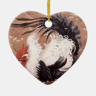 Ornement Cœur En Céramique Jeune coq dans le vent