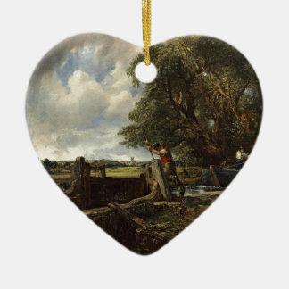 Ornement Cœur En Céramique John Constable - la serrure - paysage de campagne
