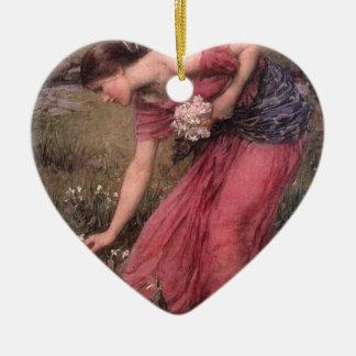 Ornement Cœur En Céramique John William Waterhouse - narcisse - beaux-arts
