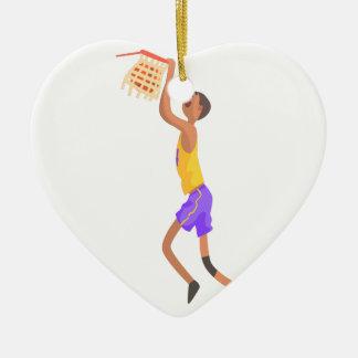 Ornement Cœur En Céramique Joueur de basket accrochant sur l'autocollant