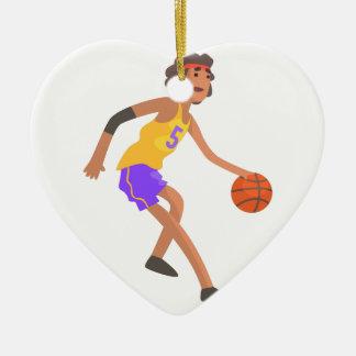 Ornement Cœur En Céramique Joueur de basket dans l'autocollant rouge d'action
