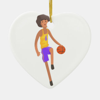 Ornement Cœur En Céramique Joueur de basket fonctionnant avec l'autocollant