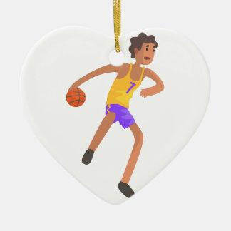 Ornement Cœur En Céramique Joueur de basket passant l'autocollant d'action de