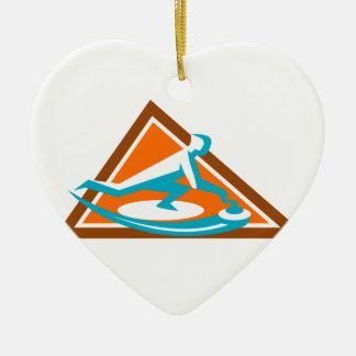 Ornement Cœur En Céramique Joueur de bordage glissant l'icône en pierre de