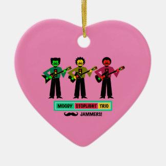Ornement Cœur En Céramique Joueurs de guitare déprimés de moustache de trio