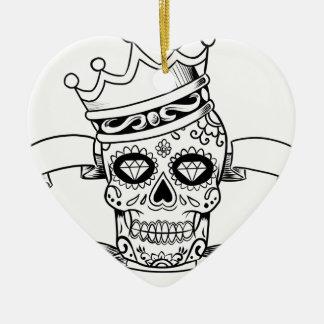 Ornement Cœur En Céramique Jour de crâne du crâne mort de sucre de couronne